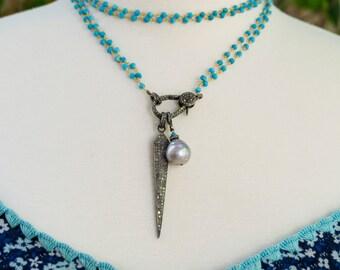 Pave Diamond Spike Necklace - Pearl Pendant - Turquoise Necklace - Pave Diamond Clasp - Bohemian Jewelry - Designer Jewelry - Layering