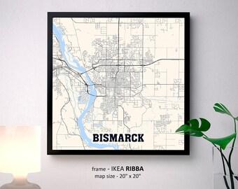 Bismarck North Dakota Map Print, Bismarck Square Map Poster, Bismarck Wall Art, Bismarck gift, Custom Personalized map