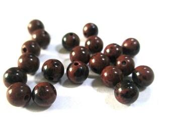 10 natural 4mm (G-03) mahogany Obsidian beads
