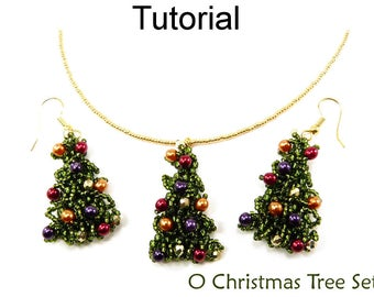 Beading Tutorials and Patterns - Christmas Beaded Earrings Necklace - Holiday Jewelry - Simple Bead Patterns - O Christmas Tree #10870