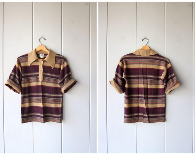 70s Knit Top | Short Sleeve Striped Shirt | Vintage Thin Wool Retro Shirt Brown Maroon Blue Hip Preppy Hipster Womens Small Medium