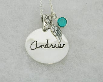 Handwriting Jewelry Personalized in Memory  Sterling Silver