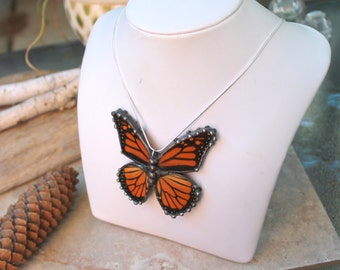 Real Butterfly Necklace, |Recycled Monarch Wings