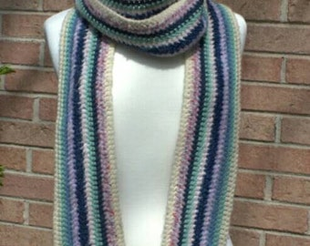 SALE! 10% off! Extra long striped acrylic scarf in pastels