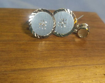 Swank Silver with Blue Accent Cuff Links Cufflinks disc shaped
