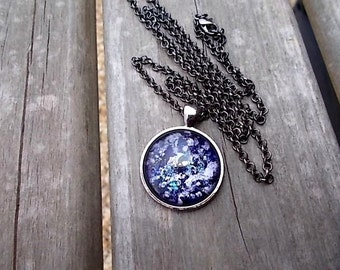 Amethyst Splatter Necklace, Mother's Day Gift, Fantasy Jewelry, Hand Painted Glass Pendant, Wearable Art, Tween Gift