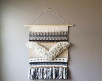 Chevron Wall Hanging, Bohemian Tapestry, Gypsy Fringe, Crochet Weaving, Cream Brown, Rustic Textile Art, Modern Home Décor, Fiber Art