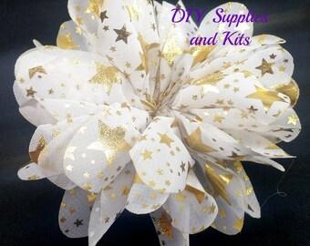 "3.5"" White gold stars speckle flower - Fabric flower - White flowers"
