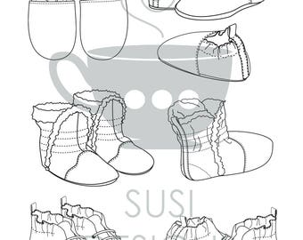 Technical Flat Sketches for Fashion Design - Baby Shoes & Booties - Illustrator Editable PDF