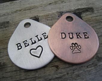 Custom Pet ID Tag - Personalized Pet/Dog Tag - Dog Collar Tag - Engraved Dog Tag - Handsatmped Pet Tag - Copper  Dog Tag