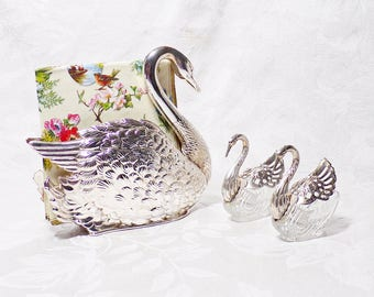 Silver Plate Swan Napkin Holder and Swan Salt and Pepper Cellars
