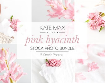 Pink Hyacinth Stock Photo Bundle / Styled Stock Photos / 17 KateMaxStock Lifestyle Branding Images for Your Business
