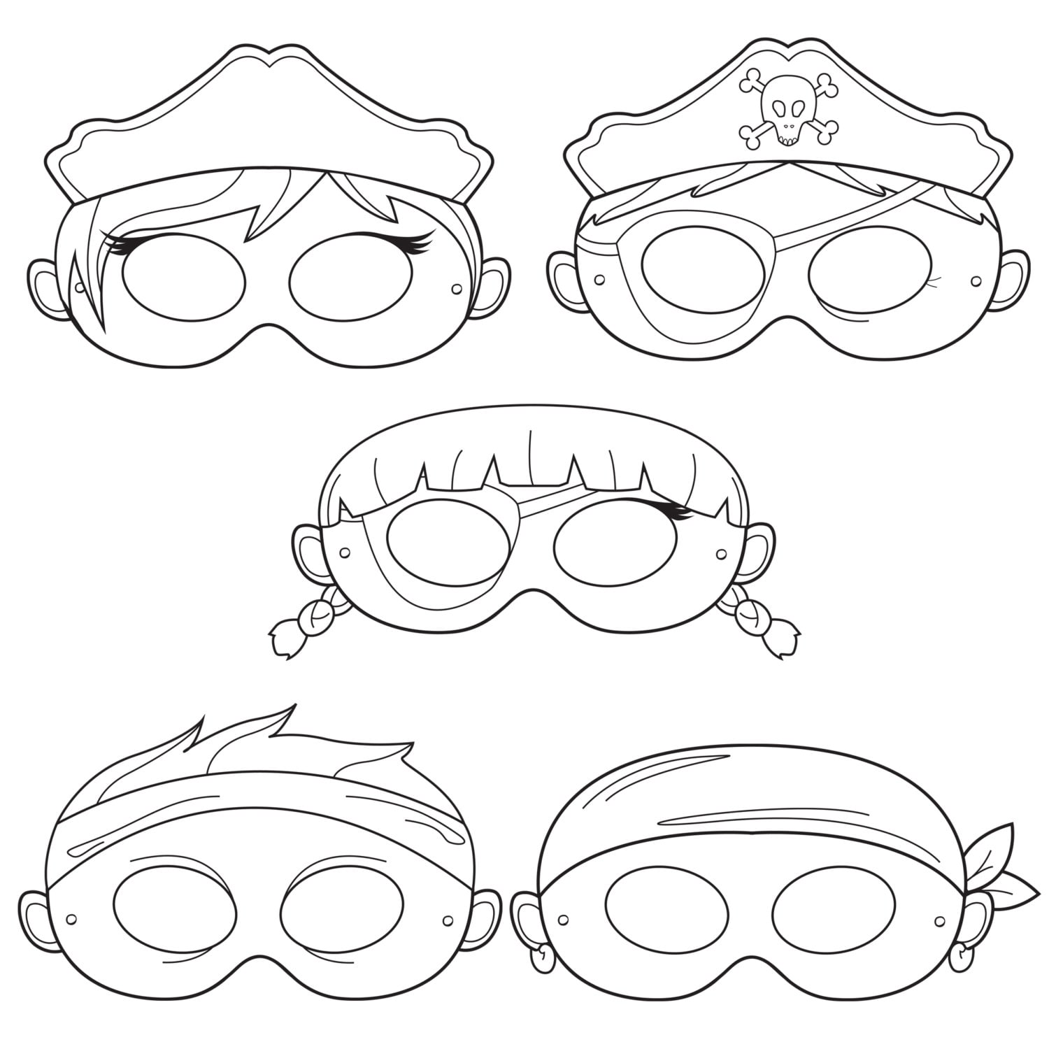 Pirates printable coloring masks pirate mask captain zoom pronofoot35fo Gallery
