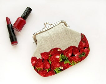 Red strawberry frame purse, fruit berries linen wallet with clasp