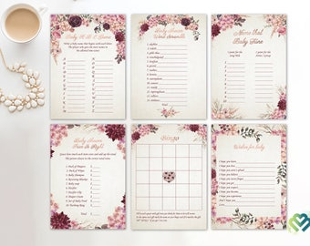 Floral Baby Shower Games Printable Baby Games Bundle Baby Shower Games Pack Burgundy Peach Baby Shower Game  Party Games Digital Rose Gold