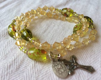Rosary Bracelet- Green and Yellow