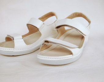 White leather sandals, Comfortable saldals, Platform sandals, Comfortable shoes, insole with leather, upper leather