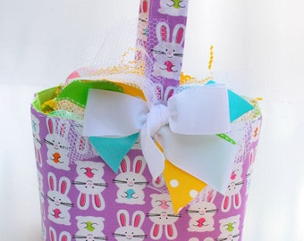 Easter Fabric Basket Girls Bunnies and eggs