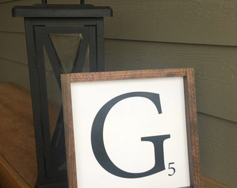 12x12 Family Initial Wood Sign