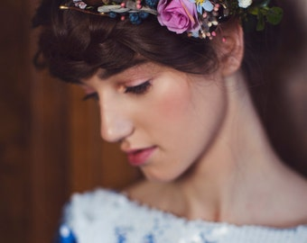 woodland flower hair wreath romantic flower crown wedding crown bridal headpiece woodland headwreath hair flowers boho hair accessories