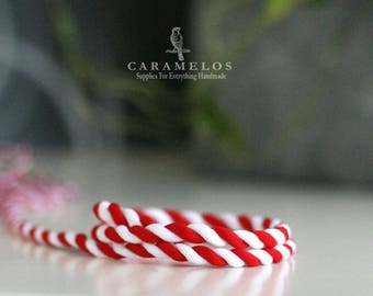 """Peppermint Candy Cane red and white twisted ribbon cord 1/4"""""""