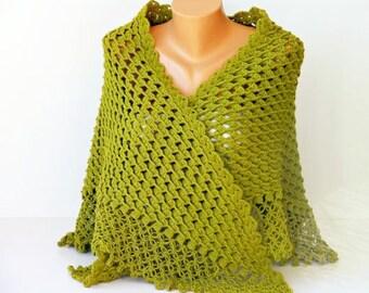 Green crochet shawl cowl shawl Bridel gift shawl shrug capelet