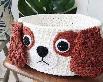 Nursery storage basket,  pet supplies storage, Cavalier King Charles Spaniel crochet basket, dog toy  basket, toy tidy, eco friendly