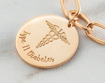 14k GOLD FILL | Personalized Medical ID Charm | Medical Alert Charm | Charm for Medical Necklace or Medical Alert Bracelet