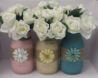 Hand painted Mason Jar Centerpiece Vase Set, kitchen utensil holder, chalk paint, distressed and sealed