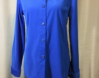 Vintage Royal Blue Faux Suede Long Sleeve Blouse or Jacket by Casual Corner, Ladies Size Medium