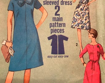 Cute Jiffy A-Line Dress Pattern With Bow Detail---Simplicity 5985---Size 12 1/2  Bust 33