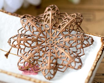 Large Vintage Filigree Aged Solid Copper Floral Motif Lacy Filigree Necklace Centerpiece Pendant Stamping with Patina 55mm