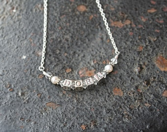 Sterling Silver Name Necklace 4.5 mm block letter Children Mother GrandMother 4 LETTERS