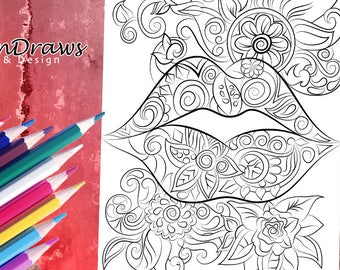 Lips and flowers colouring page- Instant digital download- Relax & have fun!
