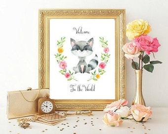 Welcome to the World print, unframed, new baby gift, nursery decor, nursery wall art, woodland nursery decor, woodland nursery