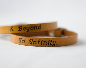 To Infinity and Beyond His and Hers  Skinny Adjustable Leather Bracelet - Set of Two