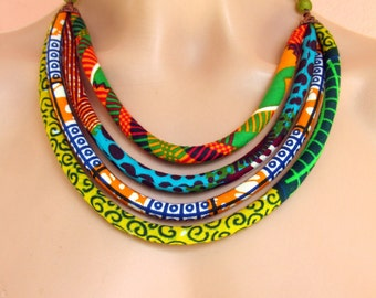 Bib Necklace - African wax print  fabric necklace, Recycled beads,Ethnic necklace, African fabric necklace ,For her,