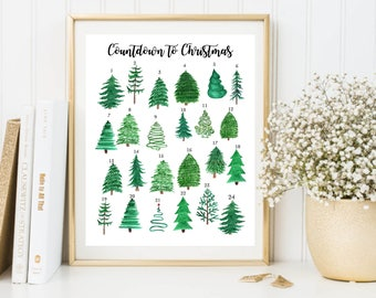 DIY Advent Calendar - Printable Advent Calendar - Countdown to Christmas - Christmas Tree Advent Calendar - Reusable Calendar - Instant JPG