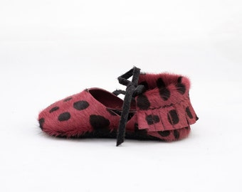 PINK + BLACK SPOTTED || mary jane 'hair on' moccasin
