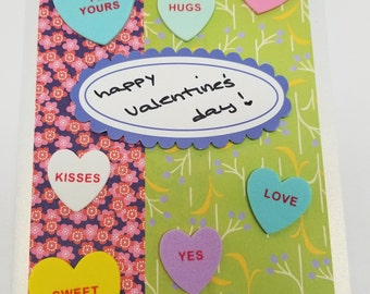 Happy Valentine's Day! Handmade Greeting Card * Conversation Hearts * Foodie Love * Origami Paper * Pearl Paper Card