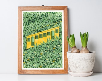Funicular Print A3 - Green Botanical Pattern, Housewarming Gift, Home Decor, Wall Art
