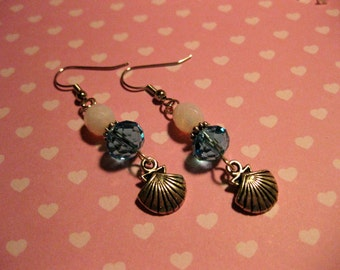 Ocean Mist - Seashell Crystal Beaded Dangle Earrings