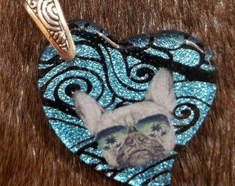 French Bulldog Handmade Fused Glass Necklace! Shipping Included!!