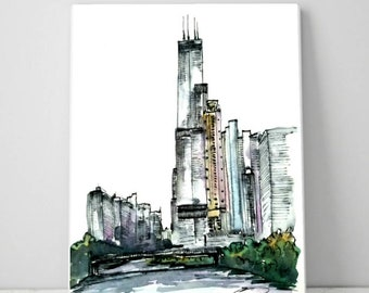 PRINT Skyline Chicago with Sears Willis tower on the river. Print from my original Ink and watercolor painting/sketch. Created by Liz Vargas