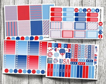 4th of July Weekly Kit Planner Stickers
