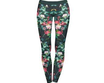 Pink Flamingos Flowers full-print Leggings / Yoga Pants / Printed leggings / Colorful leggings / Modern design /  Workout pants / Activewear