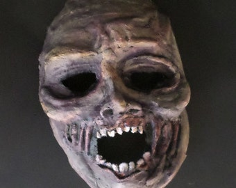 Zombie mask, undead, paper mache, wearable, monster, zombie, corpse