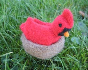 Cardinal With Nest needle felted figure