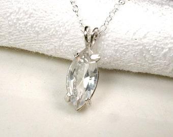 1 / SET Art Deco STERLING Silver Bridesmaid Necklace, Crystal Simple Pendant, Minimalist Rhinestone Bridal, Vintage Wedding Gift Jewelry