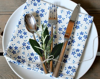 Blue Linen Union Floral Napkins - Set of 2
